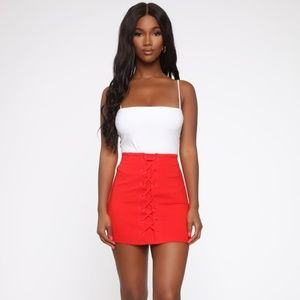 Open Heart Ponte Red Lace Up Mini Skirt